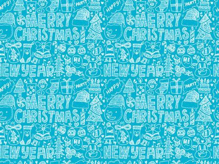 lightsdrawing: Seamless Doodle Christmas pattern