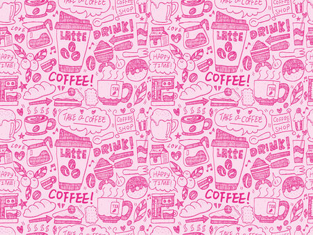 espreso: seamless doodle coffee pattern background Illustration