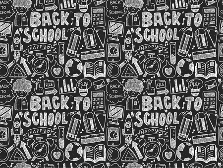 pencil cartoon: seamless doodle back to school pattern Illustration