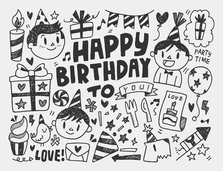 誕生日パーティーの背景を落書き 写真素材 - 35694789