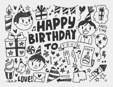 holiday party: Doodle Birthday party background