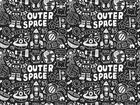 space ship: hand drawn space related object in seamless background