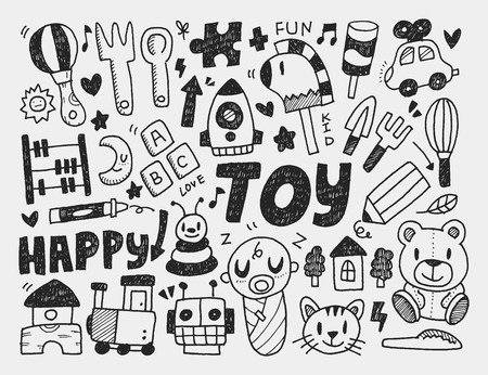 kids and toys: doodle toy background