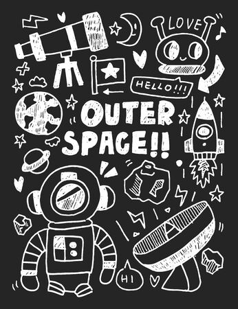 outerspace: Space elements doodles hand drawn line icon, eps10