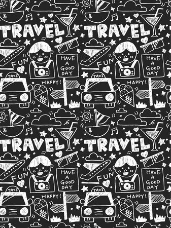 Travel elements doodles hand drawn line icon,eps10 Vector