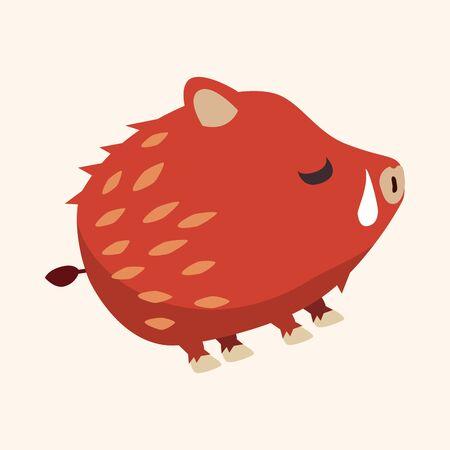 jabali: Elementos icono plana cerdo salvaje de animales, eps10 Vectores