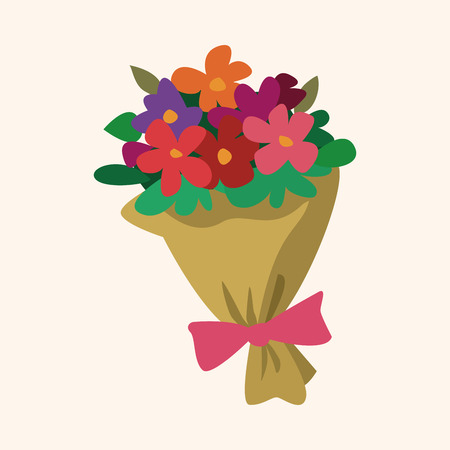 ramo de flores: Ramo de flores elementos de iconos planos de fondo, eps10