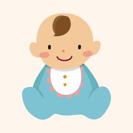 personaje bebé familia plana elementos icono fondo, eps10