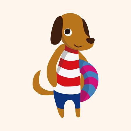 summer dog: summer animal dog flat icon element