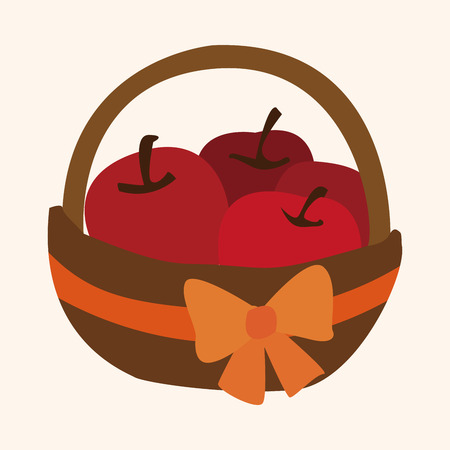 gift basket: apples in the gift basket flat icon elements,eps10