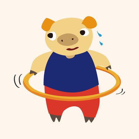 sport animal pig cartoon elements vector Vector