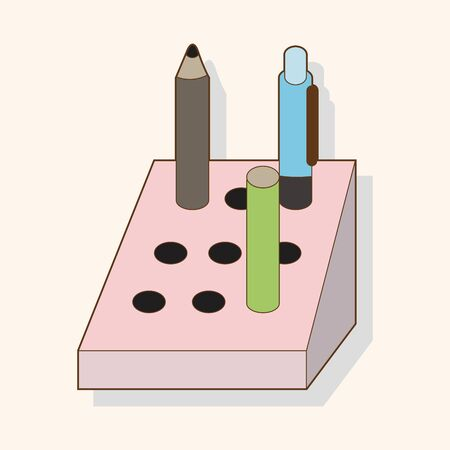 pen holder: stationary pen holder theme elements vector