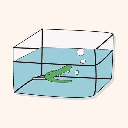 gold fish bowl: Pet fish bowl theme elements vector Illustration