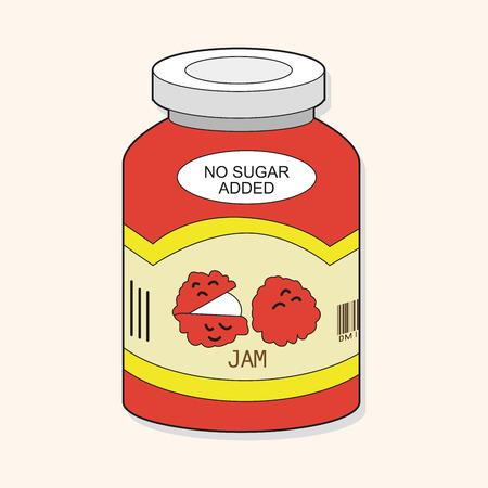 fruit jam: fruit jam theme elements vector
