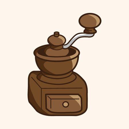 coffee machine: grinding coffee machine theme elements vector