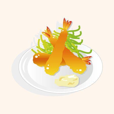 fried shrimp: japanese food theme Fried shrimp elements vector