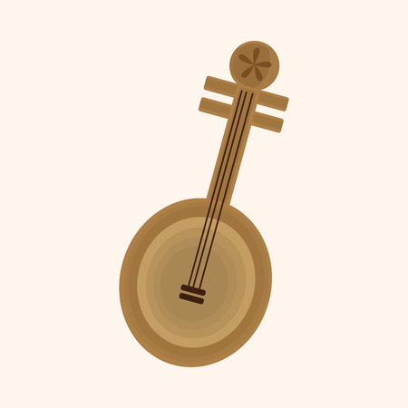 lute: music chinese lute theme elements vector Illustration