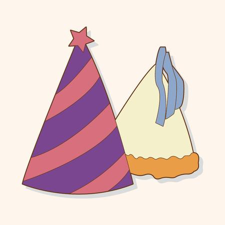 new year's cap: birthday hat theme elements vector