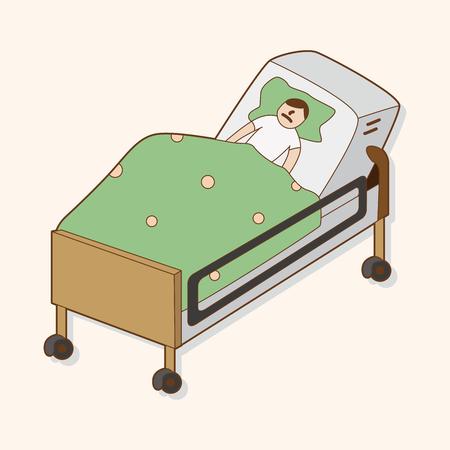 hospital patient: hospital theme patient elements vector Illustration