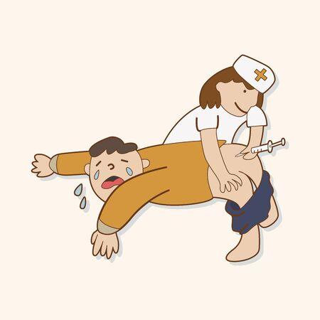hospital patient: hospital theme nurse and patient elements vector