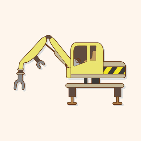 power shovel: Excavator theme elements vector