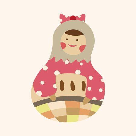 wooden doll: Matryoshka , Russian traditional wooden doll, vector pattern, elements,eps Illustration