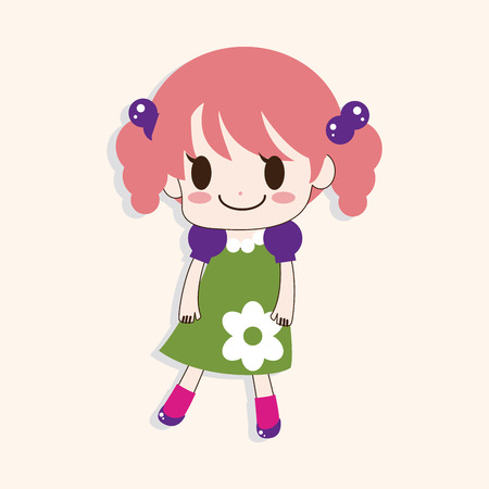 beautiful girl cartoon: girl cartoon theme element