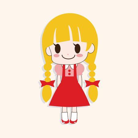 little girl cartoon: girl cartoon theme element