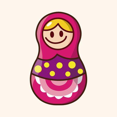 wooden doll: Matryoshka, Russian traditional wooden doll Illustration