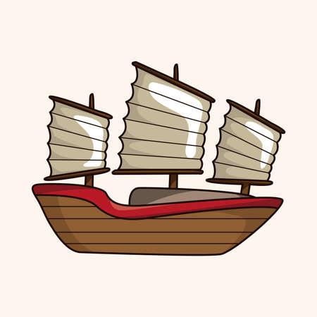 Transportation boat theme element