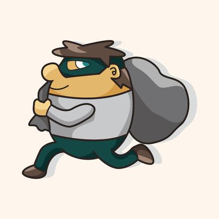 burglar man: thief theme element Illustration