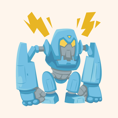 retro robot: robot theme element