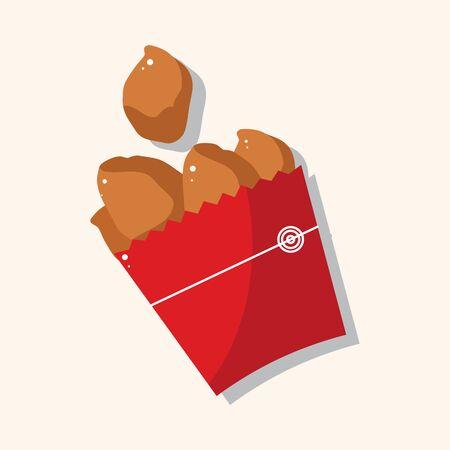 nuggets pollo: Los alimentos fritos de pollo tema de pepita Vectores