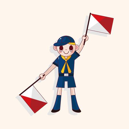 boy scouts tent: scout theme element