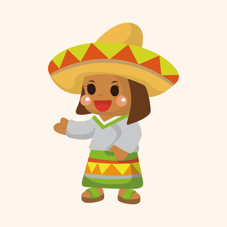 mexican girl: Mexican girl theme element