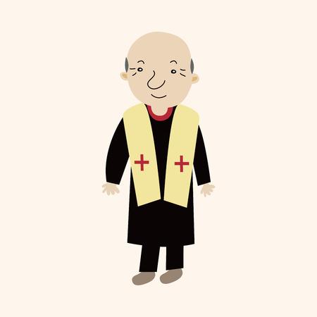 牧師のテーマ要素  イラスト・ベクター素材