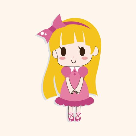 pretty little girl: girl cartoon theme element