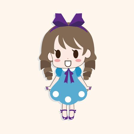 young: girl cartoon theme element