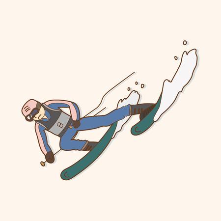 skier theme element Vector