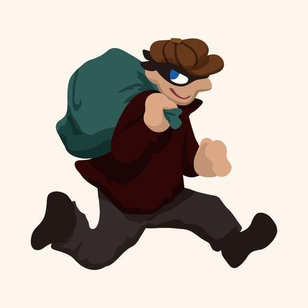 burglar: thief theme element Illustration