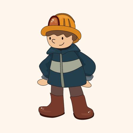 fireman: fireman theme elements vector