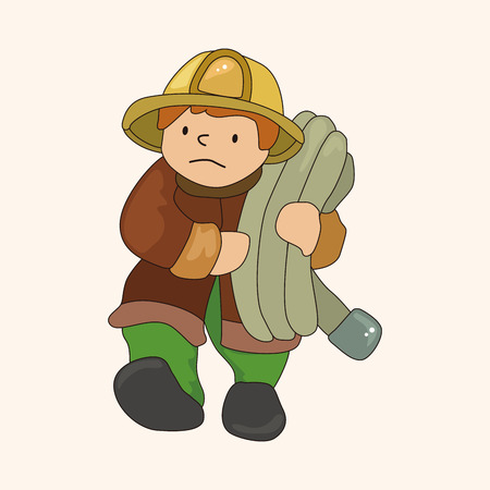 fireman: fireman theme elements vector