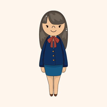 beautiful hair: girl cartoon theme element