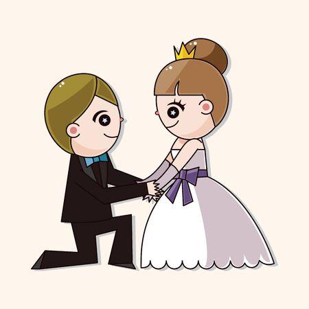 married couple: boda pareja elementos temáticos vector