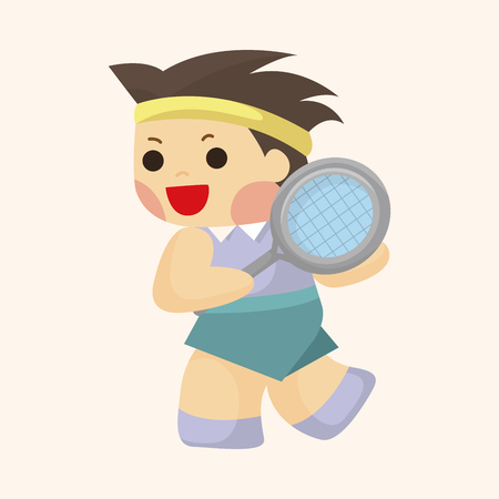tennis player: tennis player theme element Illustration