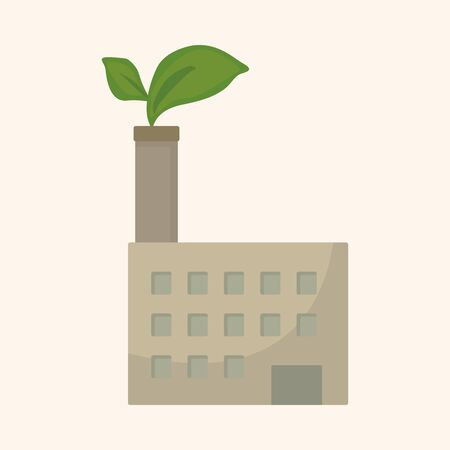 pollute: Environmental protection concept theme elements; The factory do well on emission to not pollute the air and environment