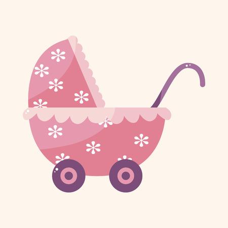 perambulator: Baby carriages theme elements Illustration