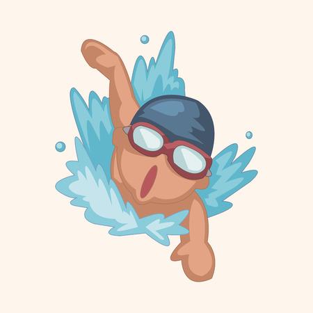 Elementos del tema de nadador Ilustración de vector