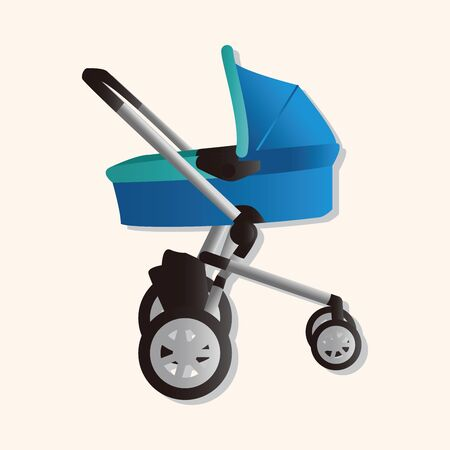 perambulator: Baby carriages theme elements Illustration