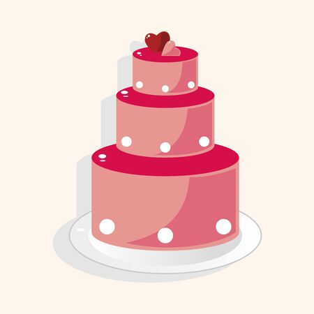 wedding cake illustration: wedding cake theme elements